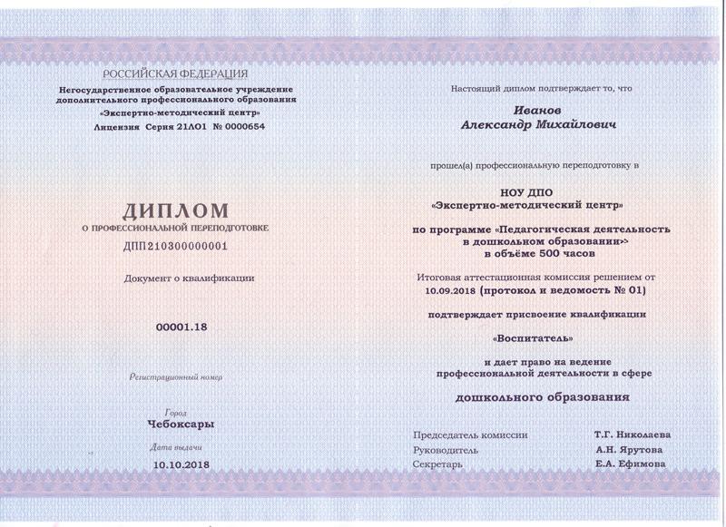 Выдаваемые документы установленного образца. Образец диплома